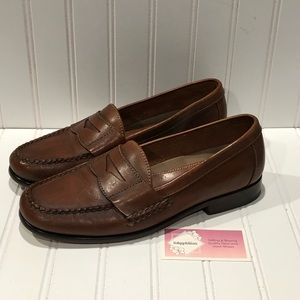 Bostonian Mens Brown Leather Penny Loafers